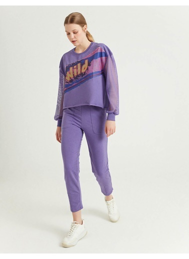 BGN Mor - File Detaylı Sweatshirt Mor